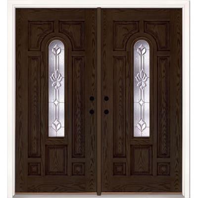 74 in. x 81.625 in. Medina Zinc Center Arch Lite Stained Walnut Oak Left-Hand Fiberglass Double Prehung Front Door