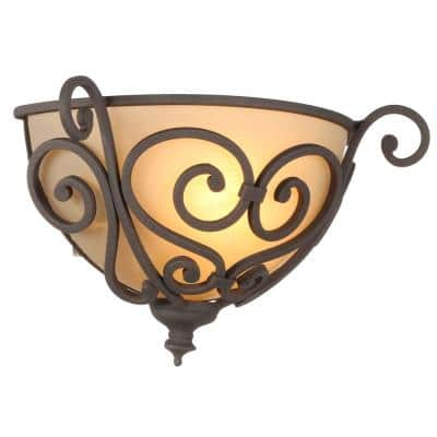 Earle 1-Light Aged Iron Half Sconce with Scavo Glass Shade