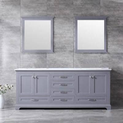 Dukes 80 Inch Double Bathroom Vanity Cabinet in Dark Grey with Top and Mirror