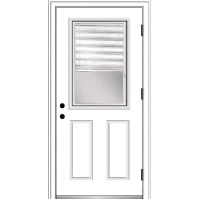 36 in. x 80 in. Internal Blinds Left-Hand Outswing 1/2 Lite 2-Panel Clear Primed Steel Prehung Front Door w/ Brickmould