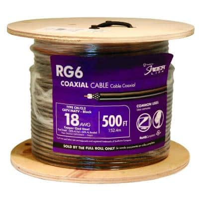 500 ft. 18 RG6 Dual Shield CU CATV CM/CL2 Coaxial Cable in Black