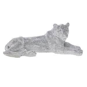Large Silver Polystone Resting Panther Sculpture, 39 in. x 14 in.