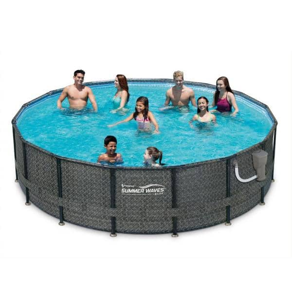 Summer Waves 48 In Oval 192 In D Above Ground Swimming Pool Set With Pump P4a01648b The Home Depot
