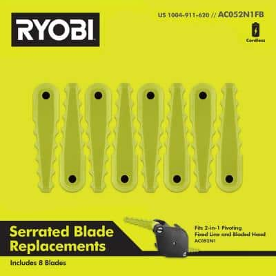 Replacement Fixed Blades for 2-in-1 String Head (8-Pack)