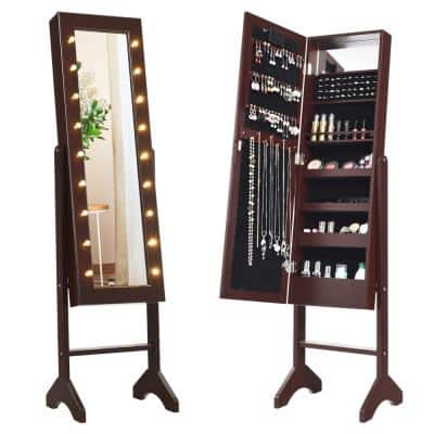 Brown with 18 LED Lights Mirrored Freestanding Jewelry Armoire Organizer Cabinet 57 in. x12.5 in. x 14 in.