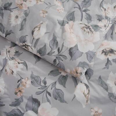 Sofia 3-Piece Gray Floral Comforter Set