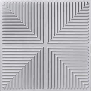 Pyramid Illusion 1.6 ft. x 1.6 ft. Glue Up Foam Ceiling Tile in Silver