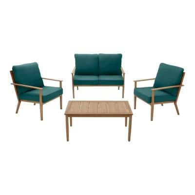 Alderton 4-Piece Brown Metal Outdoor Patio Conversation Deep Seating Set with CushionGuard Malachite Green Cushions