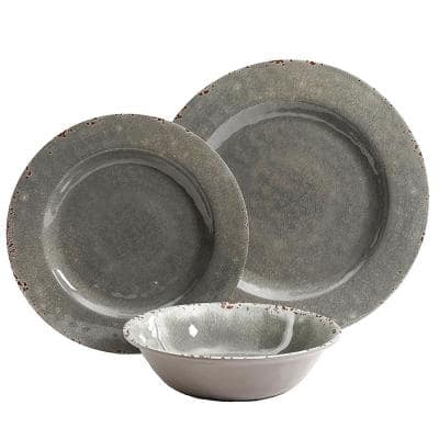 Mauna 12-Piece Casual Gray Melamine Outdoor Dinnerware Set (Service for 4)