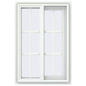 23.5 in. x 35.5 in. V-4500 Series White Vinyl Right-Handed Sliding Window with Colonial Grids/Grilles