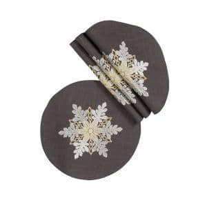 0.1 in. H x 16 in. W Round Sparkling Snowflakes Embroidered Double Layer Christmas Placemat (Set of 4)