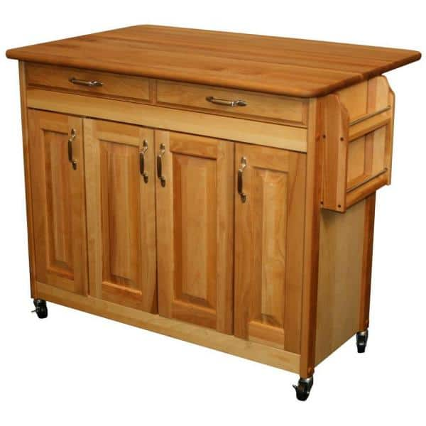 Catskill Craftsmen 44 3 8 In Butcher Block Kitchen Island With Drop Leaf 54228 The Home Depot