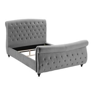Crystal Gray Velvet King Tufted Platform Bed