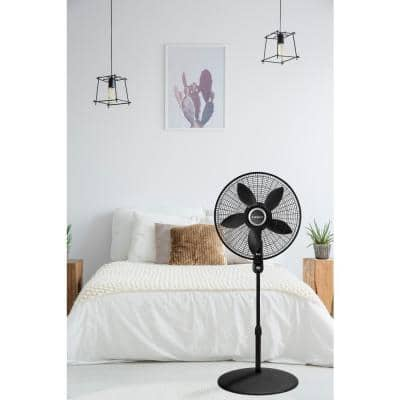 Adjustable Height 57 in. 4-Speed Oscillating Pedestal Fan with Remote Control and 20 in. Blade