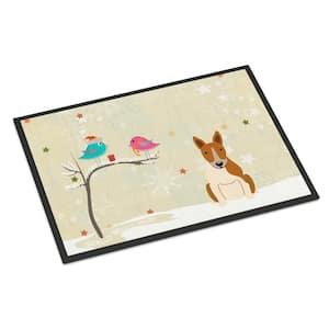24 in. x 36 in. Indoor/Outdoor Christmas Presents between Friends Bull Terrier Red White Door Mat