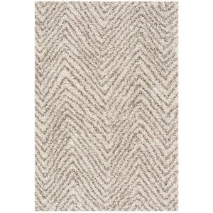 Hudson Shag Ivory/Gray 4 ft. x 6 ft. Striped Chevron Area Rug