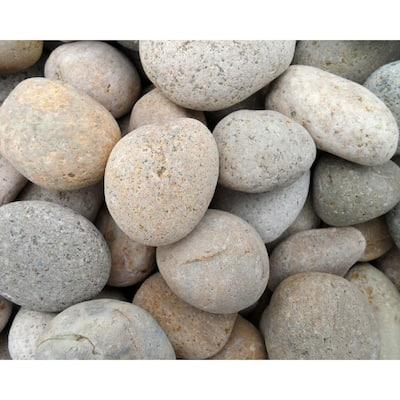 1 in. to 3 in. Medium Buff Mexican Beach Pebble (500 lbs. Mini Sack)