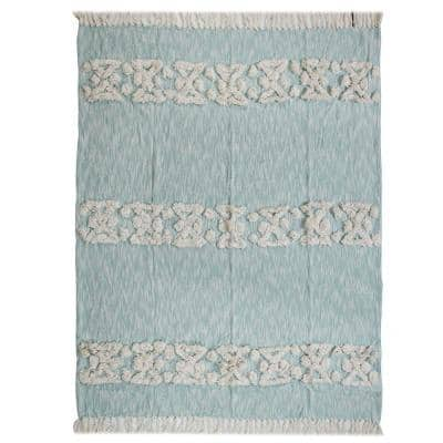 Soft Aztec 50 in. x 60 in. Sky Blue Decorative Throw Blanket