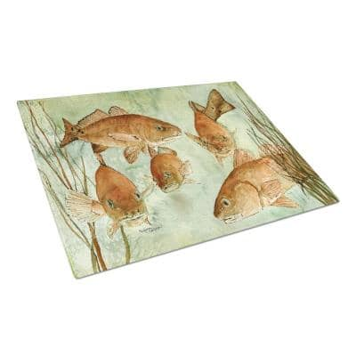 Red Fish Swim Tempered Glass Large Cutting Board