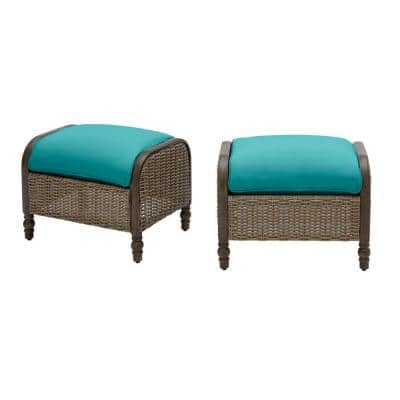 Windsor Brown Wicker Outdoor Patio Ottoman with Sunbrella Peacock Blue-Green Cushions (2-Pack)