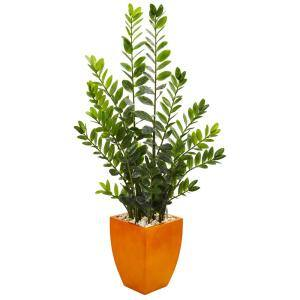 5 ft. Zamioculcas Artificial Plant in Orange Planter