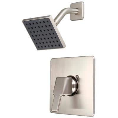 1-Handle Wall Mount Shower Faucet Trim Kit in Brushed Nickel with 4 in. Square Showerhead (Valve not Included)