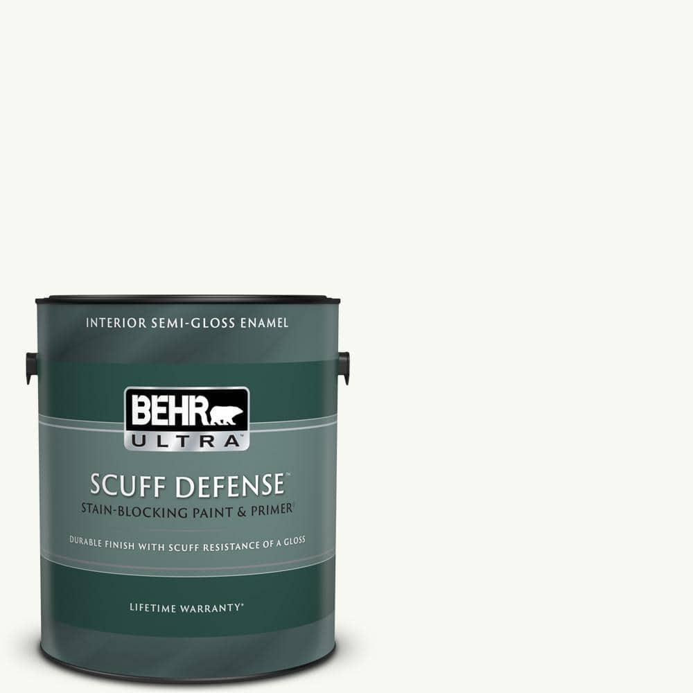 Behr Ultra 1 Gal Ppu18 06 Pure White Extra Durable Semi Gloss Enamel Interior Paint Primer 375001 The Home Depot