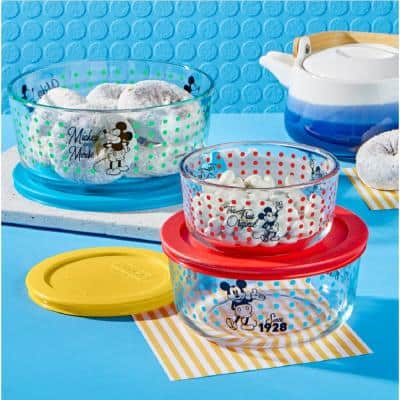 Mickey Mouse The True Original 6-Piece Decorated Glass Storage Container Set with Lids
