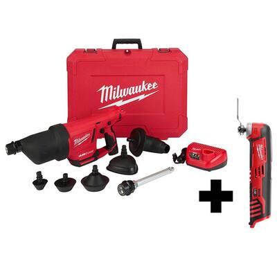 M12 12-Volt Lithium-Ion Cordless Drain Cleaning Airsnake Air Gun Kit with M12 Multi-Tool