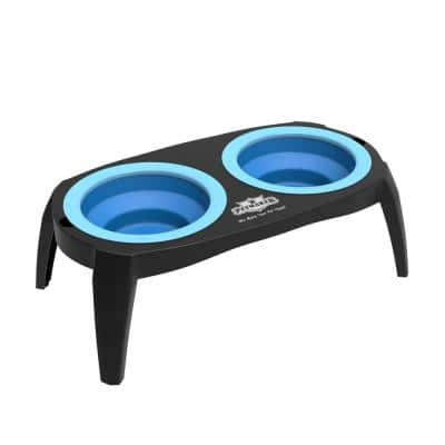 16 oz. Silicone Elevated Pet Bowls with Nonslip Stand in Blue