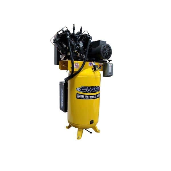 Emax Industrial Plus 80 Gal 7 5 Hp 1 Phase Silent Air Electric Air Compressor With Pressure Lubricated Pump Hsp07v080v1 The Home Depot