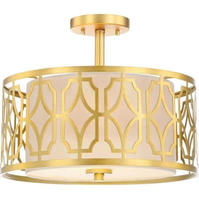 2-Light Natural Brass Semi-Flush Mount