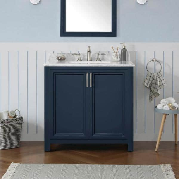 Home Decorators Collection Sandon 36 In W X 22 In D Bath Vanity In Midnight Blue With Marble Vanity Top In Carrara White With White Basin Sandon 36mb The Home Depot