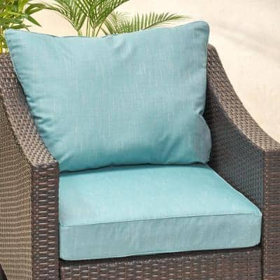 Smythe 27 in. x 21.5 in. 2-Piece Outdoor Club Chair Cushion Set in Teal