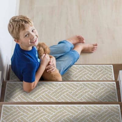 Sisal Light Beige 9 in. x 28 in. Cotton Carpet Stair Tread Cover (Set of 13)
