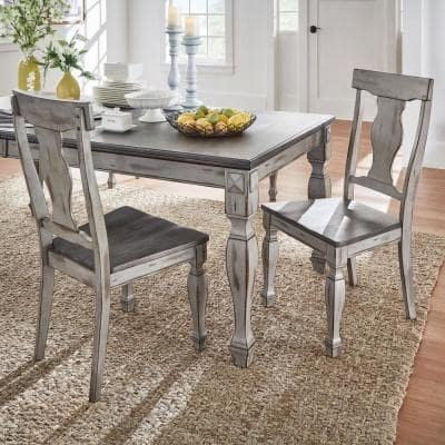 2-Tone Coffee and Antique Grey Side Chair (Set of 2)