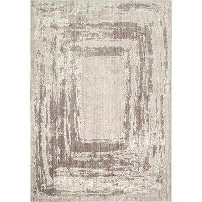 Visconti Abstract Light Brown 5 ft. x 8 ft. Area Rug