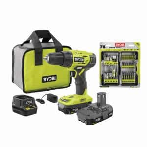 ONE+ 18V Cordless 1/2 in. Drill Driver Kit w/ (2) 1.5 Ah Batteries, Charger, & Bag w/ Impact Rated Driving Kit (70Piece)
