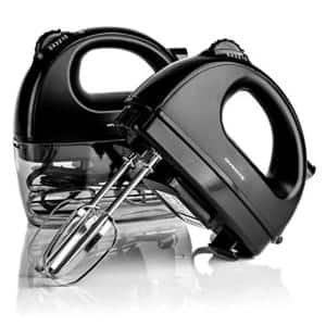 5-Speed Hand Mixer Stainless Steel Chrome Beaters and Free Snap-On Case, 150W, Black