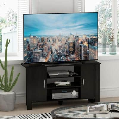 Econ 42 in. Espresso Wood TV Stand with 6 Drawer Fits TVs Up to 50 in. with Open Storage