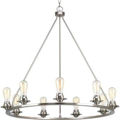 Debut Collection 9-Light Brushed Nickel Farmhouse Chandelier Light