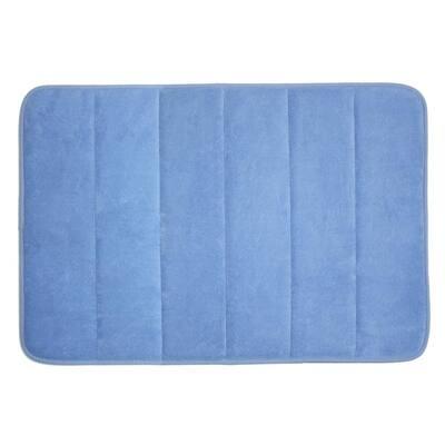 17 in. x 24 in. Smoke Blue Memory Foam Bath Mat