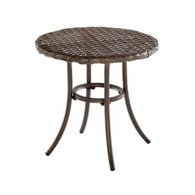 18 in. Mix and Match Brown Round Metal Outdoor Patio Accent Table