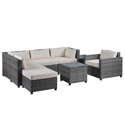 Outdoor Lounge Furniture, Burruss Patio Sectional With Cushions Canada