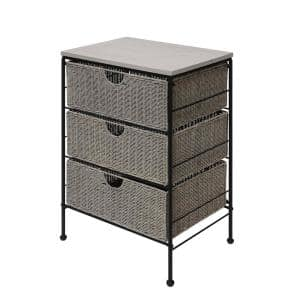 Arcadia Grey Wicker 3-Drawer Wood Top Chest