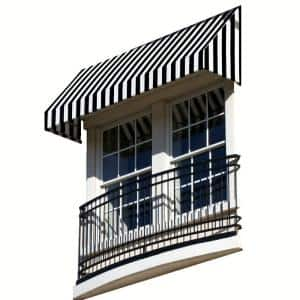 10.38 ft. Wide New Yorker Window/Entry Awning (16 in. H x 30 in. D) Black/White