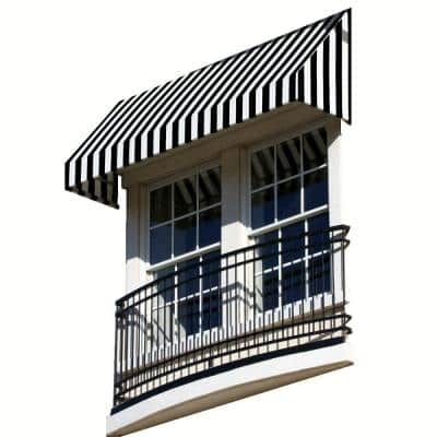 6.38 ft. Wide New Yorker Window/Entry Awning (58 in. H x 36 in. D) Black/White
