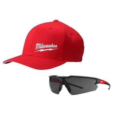 Small/Medium Red Fitted Hat and Safety Glasses with Tinted Anti-Scratch Lenses