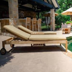 Teak Outdoor Patio 3-Piece Set with Tan Sunbrella Chaise Loungers and Side Table