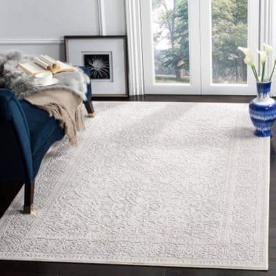 Reflection Light Gray/Cream 8 ft. x 10 ft. Distressed Floral Area Rug